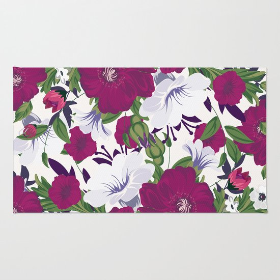 Purple Spring Flowers Rug