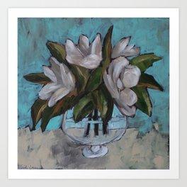 Magnolias in a Fish Bowl Painting Art Print