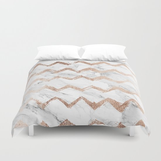 Chic Faux Rose Gold Chevron White Marble Pattern Duvet