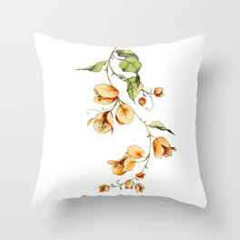 Orange Bougainvillea Illustration Throw Pillow