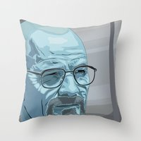 walter white Throw Pillows featuring Walter by Digital Sketch