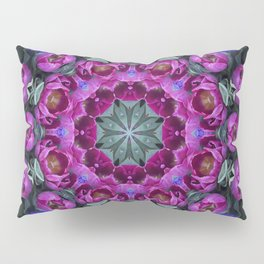 Floral finery - kaleidoscope of blue, plum, rose and green 1650 Pillow Sham