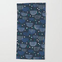 Botanical Block Print M+M Navy by Friztin Beach Towel