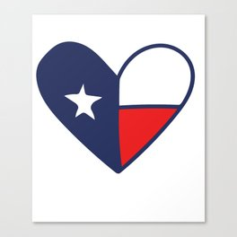 Texas Lone Star flag Heart Canvas Print