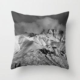 Monochrome Mountain Throw Pillow