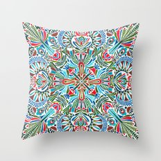 The middle of the Earth mandala Throw Pillow