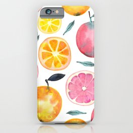 Summer Fruits Watercolor Pattern iPhone Case