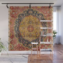 Indian Boho III // 16th Century Distressed Red Green Blue Flowery Colorful Ornate Rug Pattern Wall Mural