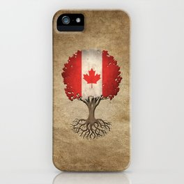 Vintage Tree of Life with Flag of Canada iPhone Case