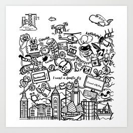 I want a doodle fly in Hong Kong Art Print