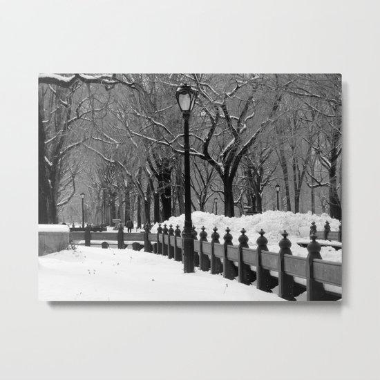 """Central Park in Winter"" Black & White Metal Print"