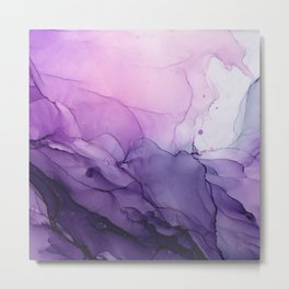 Purple Amethyst Crystal Inspired Abstract Flow Painting Metal Print