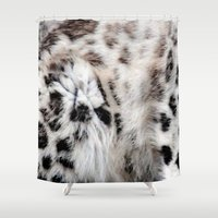snow leopard Shower Curtains featuring Snow Leopard by Moody Muse
