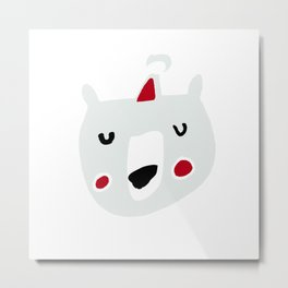 Cute holiday bear white Metal Print