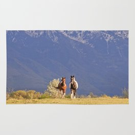 Paint Horses and Western Landscape Photograph Rug