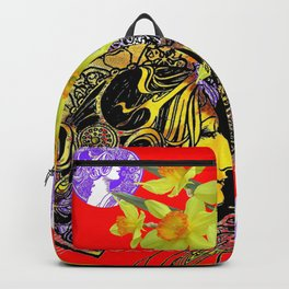 RED ART NOUVEAU MAGIC OF SPRING Backpack