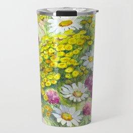Watercolor meadow flowers spring Travel Mug