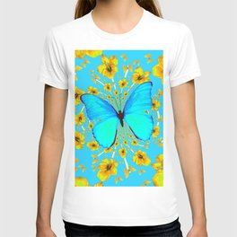 BLUE BUTTERFLY YELLOW AMARYLLIS PATTERNED ART T-shirt
