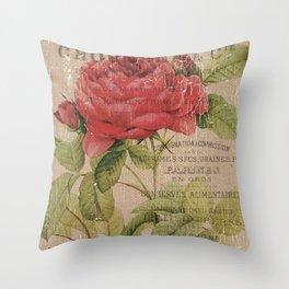 Vintage Burlap Floral 1 Throw Pillow