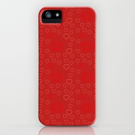 Bright ruby red fancy abstract love style pattern with fine golden hearts and bubbles iPhone Case