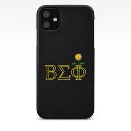 ΒΣΦ with a Long Stem Yellow Rose on Black (BSP) iPhone Case