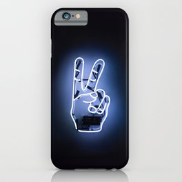 Peace Sign Hand Neon Sign iPhone Case