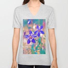 Colorado Blue Columbine -  State Flower Unisex V-Neck