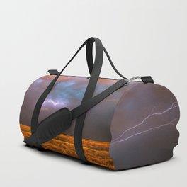 Ride the Lightning - Lightning and Rainbow Over Oklahoma Plains Duffle Bag