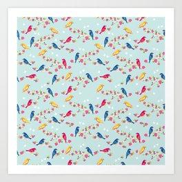 Spring blossom birds blue Art Print