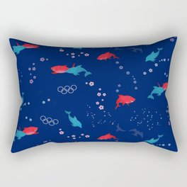 Blue Dolphin and Red Shark Olympic Rectangular Pillow