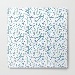 Chromosomes - Blues on White Metal Print