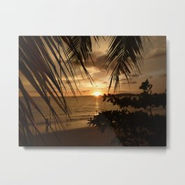 Silhouettes Of Palm Trees At Sunset in French Polynesia Metal Print