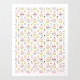 Pastel Cupcakes Food Vector Pattern Art Print
