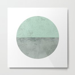 MINT TEAL GRAY CONCRETE CIRCLE Metal Print
