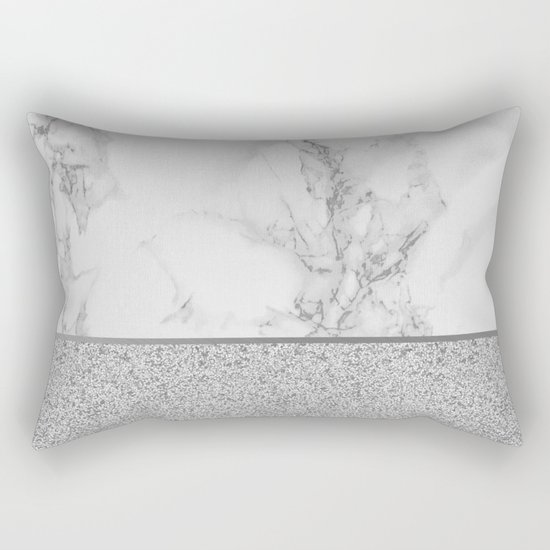 Marble + Glitter #1 Rectangular Pillow