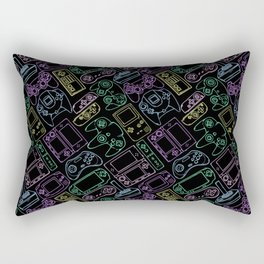 Video Game Controllers in Neon Colors Rectangular Pillow