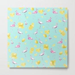 Flamingo Lemon Twist Summer Pattern #1 (Kids Collection) #decor #art #society6 Metal Print