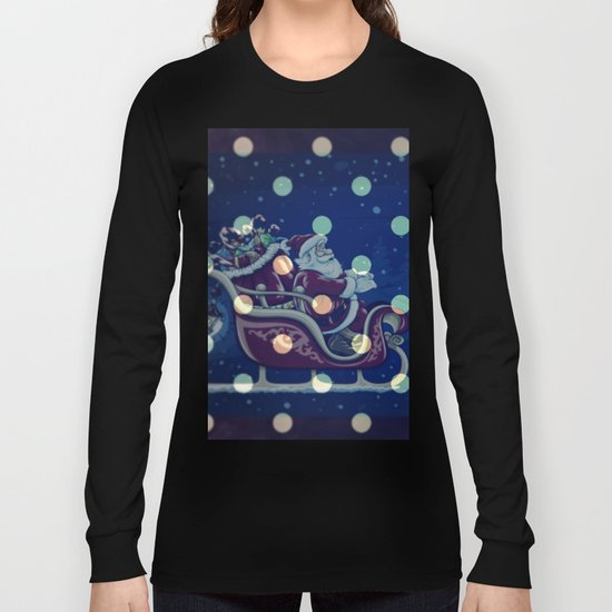 Santa Claus riding his sleigh on a snowy blue Christmas Eve Long Sleeve T-shirt