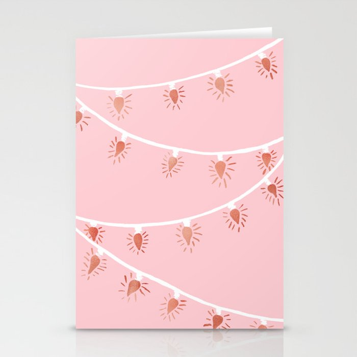 Rose gold Christmas lights Stationery Cards