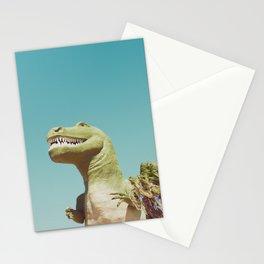Dinosaur, T-rex, Animals, Cute, Kids, Children, Teal, Palm Springs Stationery Cards