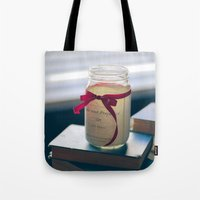 pride and prejudice Tote Bags featuring Pride & Prejudice Mason Jar by {she tells stories}