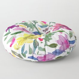 Tranquil Purple Pink and Yellow Watercolor Florals Floor Pillow