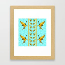 GOLD & BLUE TROPICAL MACAWS VERTICAL ART Framed Art Print