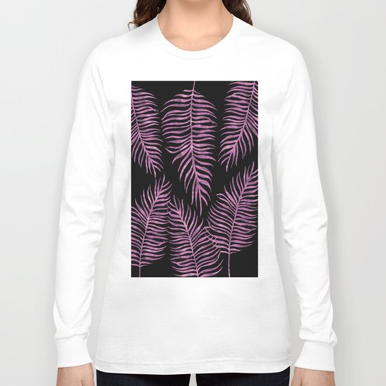 Fern Pattern Purple On Black Background Long Sleeve T-shirt