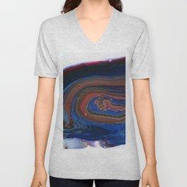 Fluid Acrylic VIII - Negative space fluid pour painting Unisex V-Neck