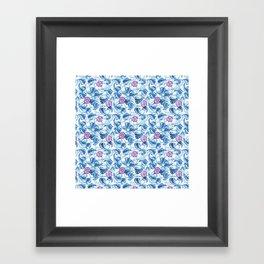 Ipomea Flower_ Morning Glory Floral Pattern Framed Art Print
