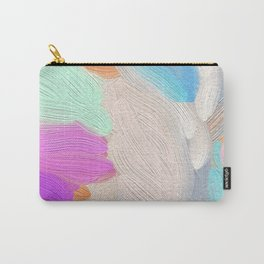 Abstract modern teal pink acrylic paint brushstrokes Carry-All Pouch