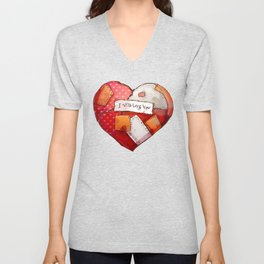 Heart with patches. Valentines day illustration. Unisex V-Neck