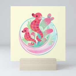 Ocean terrarium - Sea horse Mini Art Print
