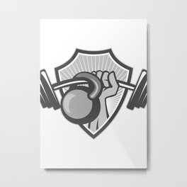 Hand Lifting Barbell Kettlebell Crest Grayscale Metal Print